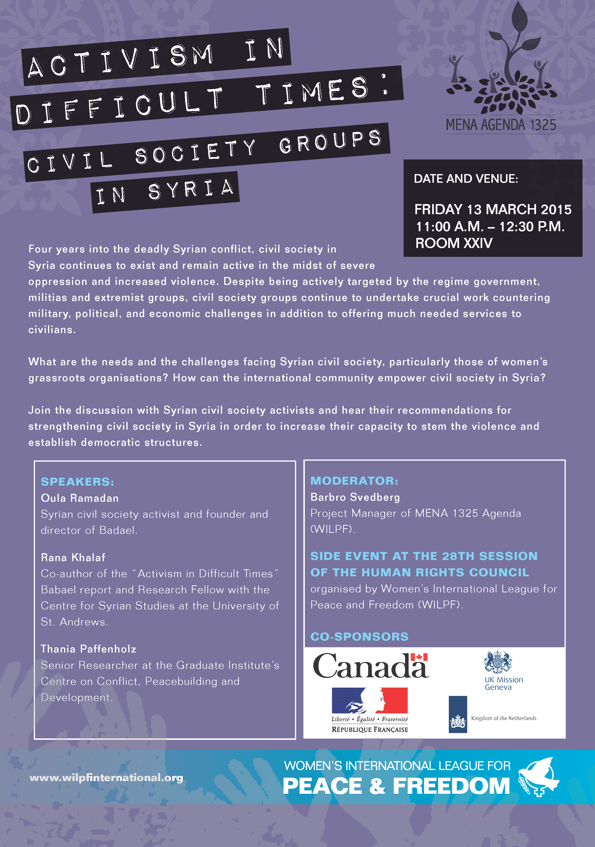 WILPF Syria Side Event Flyer Photo