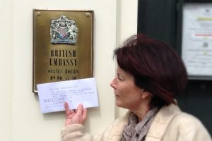 Clare Walker with the letter at the British Embassy. Photo by Caroline Freeman