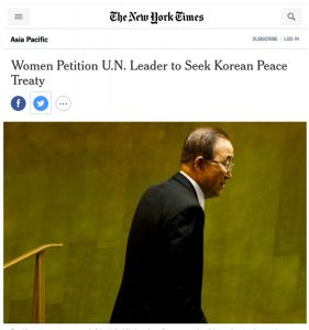 Women Petition UN Leader to seek Korean Peace Treaty
