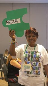 Sylvie Ndongmo, WILPF- Cameroon, at the Media breakout session. Photo: Orla Sheridan.