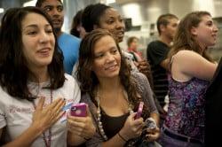 Photo of women waiting to meet Barack Obama
