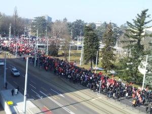 Demonstrators in Geneva asking for an independent international investigation