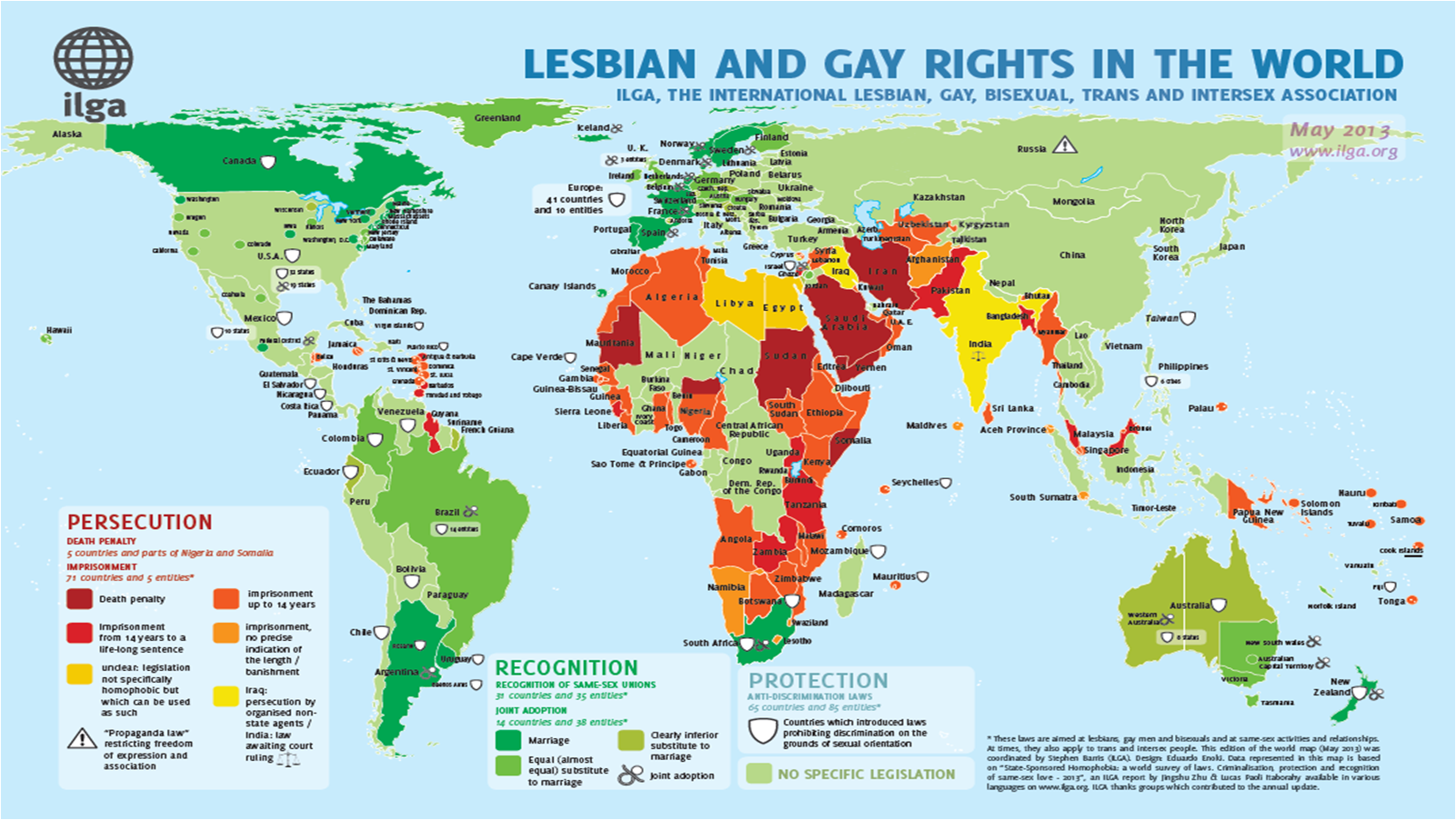 Countries criminalise homosexuality