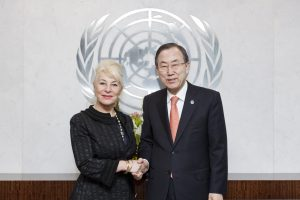 Ms. Nicole Ameline (Chairperson, CEDAW) and UN Secretary General Ban Ki-moon