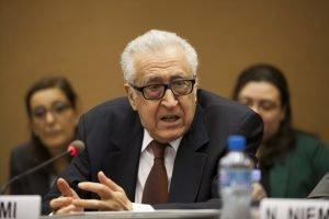 UN-Arab League peace envoy Lakhdar Brahimi, during his introductory remarks. Photo credits: Rowan Farrell.