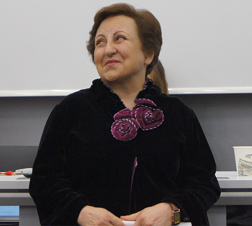 A picture of Shirin Ebadi seated.
