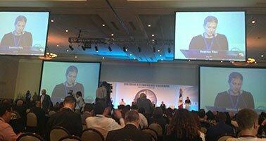 Screens showed Beatrice Fihn speaking