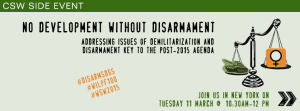 """No Development without Disarmament"" Side event flyer"