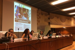 Manuela Mesa, Vice President o WILPF Spain, addressed the issue of TNCs and sexual violence at the side event on 7 July.