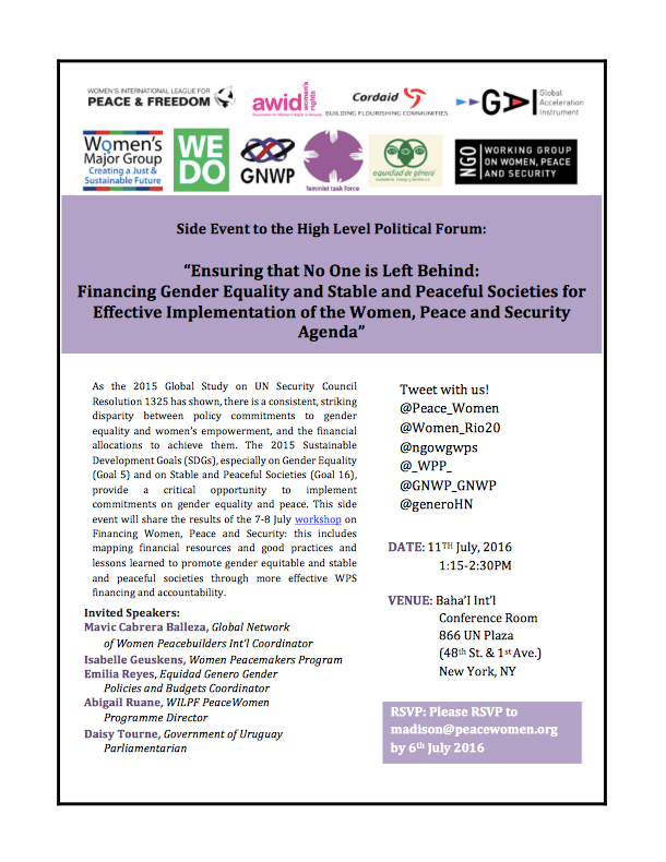 PeaceWomen Side Event WPS HLPF