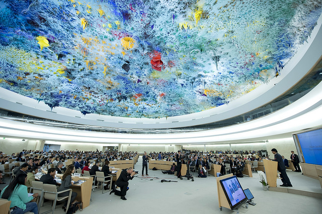 Evo Morales Ayma ( right, at the podium ) President of the Plurinational State of Bolivia speaks at the 33th ordinary session of the Human Rights Council. 23 september 2016. UN Photo / Jean-Marc Ferré
