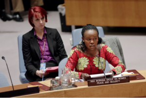 Rita Lopidia, Executive Director and Co-founder of EVE Organisation for Women Development, South Sudan delivers remarks at the UN Security Council WPS Open Debate (UN Women/Ryan Brown)