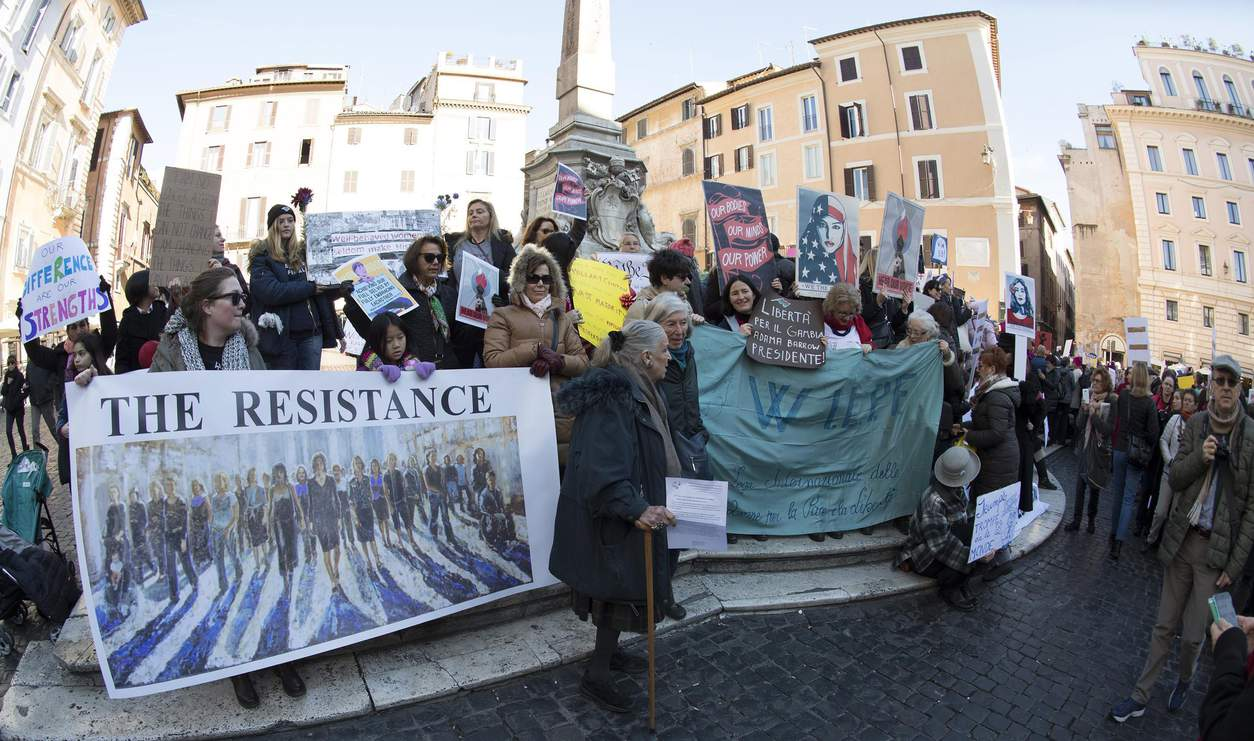 Members of WILPF Italy take part in Women's March at Rotonda square in downtown Rome, Italy.